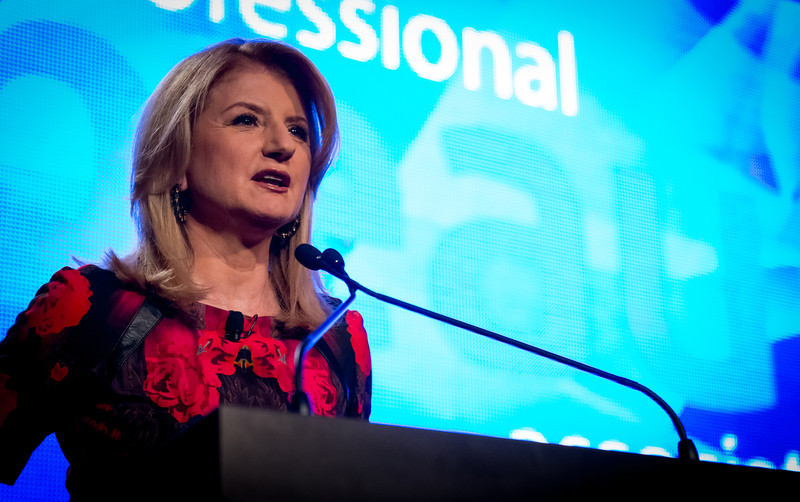 Arianna Huffington, keynote speaker of the 2013 PBA Annual Business Forum addresses the audience.